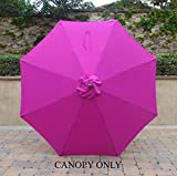 Cheap 9ft Umbrella Replacement Canopy 8 Ribs in Fuchsia (HOT PINK, Canopy Only)