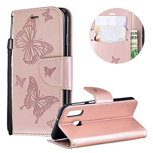 Samsung Galaxy A40 Case,PU Leather Wallet Case for Samsung Galaxy A40,Moiky Luxury Rose Gold Butterfly Pattern Embossed Soft Leather Purse Flip Magnetic Stand Shockproof Case Cover with Card Slots - Gold Lip Embossed Inner