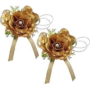 Steen Set of 2 - bridal corsage Bridesmaids Dance decoration flowers - fleurs artificielles, 1 pair 106