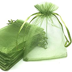 YIJUE 100pcs 4x6 Inches Drawstrings Organza Gift Candy Bags Wedding Favors Bags (Grass Green)