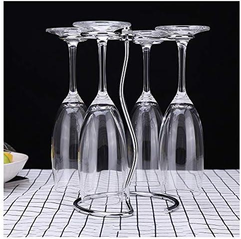 ハンギングワイングラスラック、ホーム&バーストレージと芸術卓上ディスプレイ用ステンレス鋼脚付きグラスラック、テーブルワイングラス主催、 - 5.5×9.4インチ