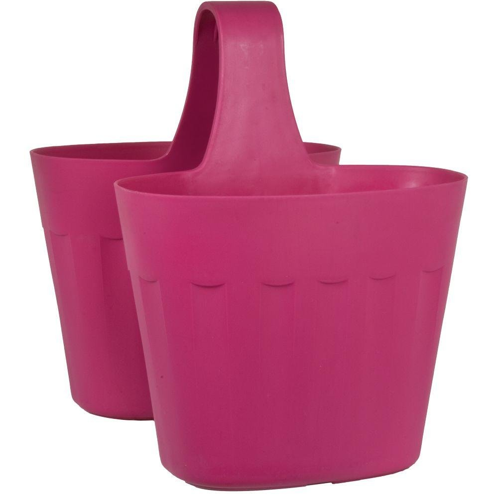Pride Garden Products Mela 15 in. Pink Plastic Saddlebag Rail Planter by Pride Garden Products