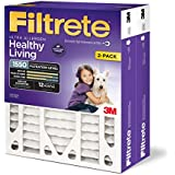 Filtrete Healthy Living Ultra Allergen Deep Pleat AC Furnace Air Filter, Attracts Fine Inhalable Particles, MPR 1550, 20 x 25 x 4 (4-3/8 Actual Depth), 2-Pack