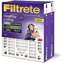 Filtrete Healthy Living Ultra Allergen Deep Pleat HVAC Air Filter, MPR 1550, 20 x 25 x 4 (4-3/8 Actual Depth), 2-Pack