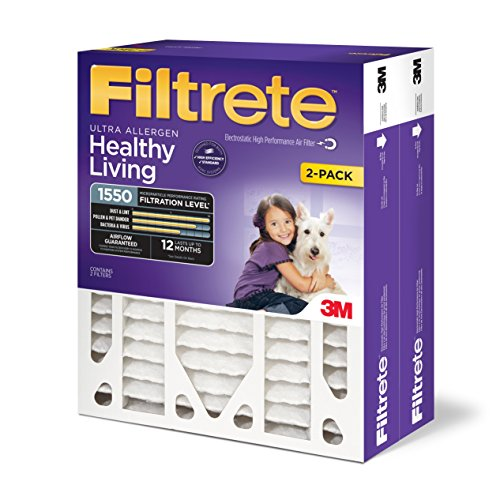 Filtrete MPR 1550 16 x 25 x 4 (4-3/8 Actual Depth) Healthy Living Ultra Allergen Deep Pleat HVAC Air Filter, Captures Microscopic Particles, Guaranteed Airflow up to 12 months, 2-Pack