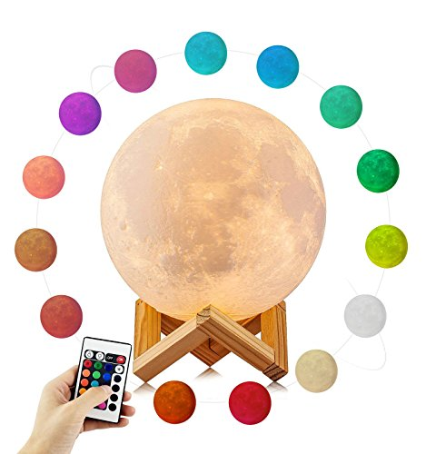 3D Printed Moon Lamp LED Baby Night Light,MAOBEN Bedside Lamp USB Charging Wooden Base with Touch and Remote Control 16-colors Dimmable Switch for Baby Bedroom or Valentine's Decoration(5.9in/15cm)