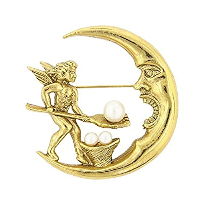 Cheap Gold-Tone Simulated Pearl Spirit Soul Crescent Moon Pin supplier
