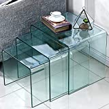 Cheap FengHuaGlassHome Premium Glass Coffee 3 Pieces-Office l Shaped Desk Set Small End Modern Side Bedroom Nesting Table, s,m,l, Clear