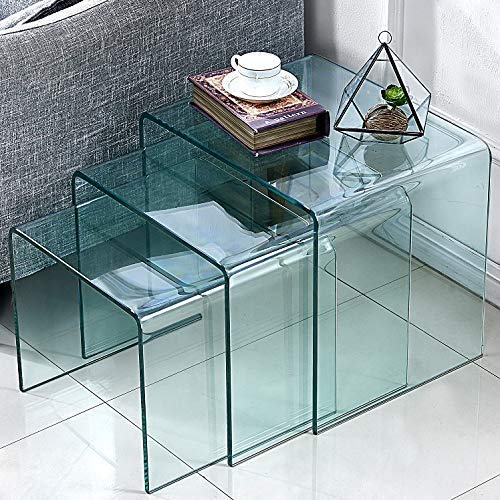 FengHuaGlassHome Premium Glass Coffee 3 Pieces-Office l Shaped Desk Set Small End Modern Side Bedroom Nesting Table, s,m,l Clear
