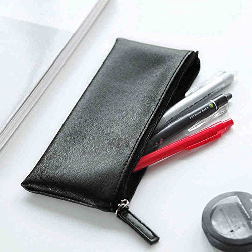 free shipping ASAPS Black PU Leather Pencil Case Pouch Bag with Zipper