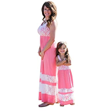 Kehen Summer Family Clothes Mommy and Me Matching Maxi Dress Floral Lace  Sleeveless Sundress Slim Splice b113ed44c202