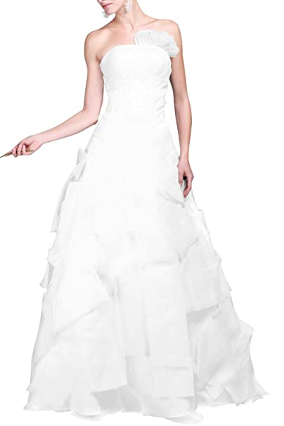 mittydresses a-line para vestido de novia de organza de color blanco de Bohemia Boho