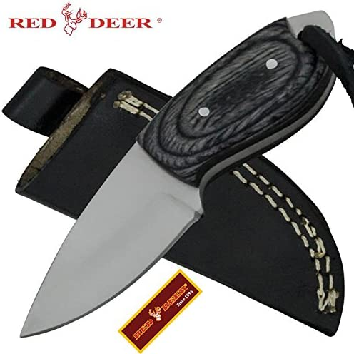 Red Deer Mini Skin Pakka Wood Handle 440 Stainless Steel Genuine Leather Sheath