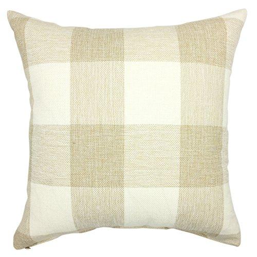 Checkers Protector Case (YOUR SMILE Retro Farmhouse Tartan Checkers Plaid Cotton Linen Decorative Throw Pillow Case Cushion Cover Pillowcase for Sofa 18 x 18 Inch,Beige/White)