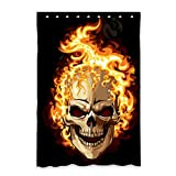 Reong Skull On Flaming Window Curtain Blackout Polyester Sound Heat Insulation Home Decor Window Curtain 52 x 63 inch 9 Hooks (One Piece) Review