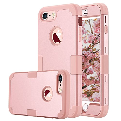 iPhone 7 Case, AOKER Shockproof Hybrid Heavy Duty High Impact Hard Plastic+Soft Silicon Rubber Armor Defender Case Cover for Apple iPhone 7 4.7 Inch (2016) (Rose (1980s Rose)