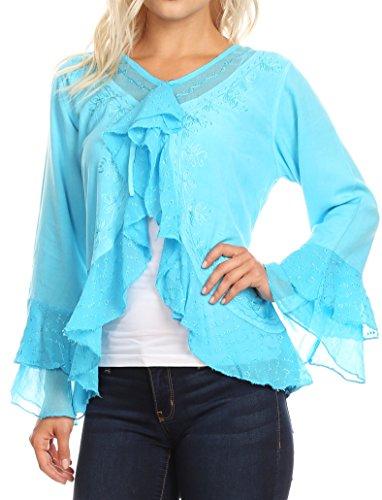 Sakkas 1669 - Jimena Womens Ruffle 3/4 Sleeve Open Front Cropped Cardigan Top Lace - Turquoise - XXL - Ruffle Front Sandal