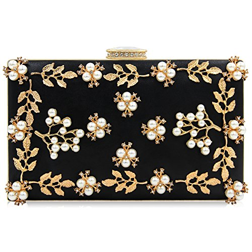 - Milisente Women Clutches Pearls Evening Bag Clutch Purse Bags (Black)