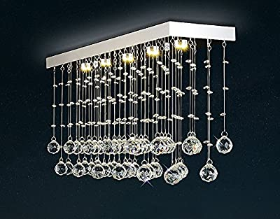 "Moooni Rectangular Crystal Chandelier Lighting Modern Ceiling Light Fixture for Kitchen Island L31.5"" x W7.9"" x H15"""