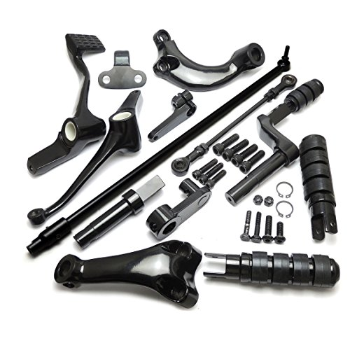 (Black Forward Controls Complete Kit with Pegs Levers Linkage for Sportster XL883 XL1200)