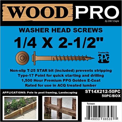 50-Pack B/&C Eagle WoodPro Fasteners ST14X212-50PC 1//4-Inch by 2-1//2-Inch Length Round Washer Head Exterior Wood Screws