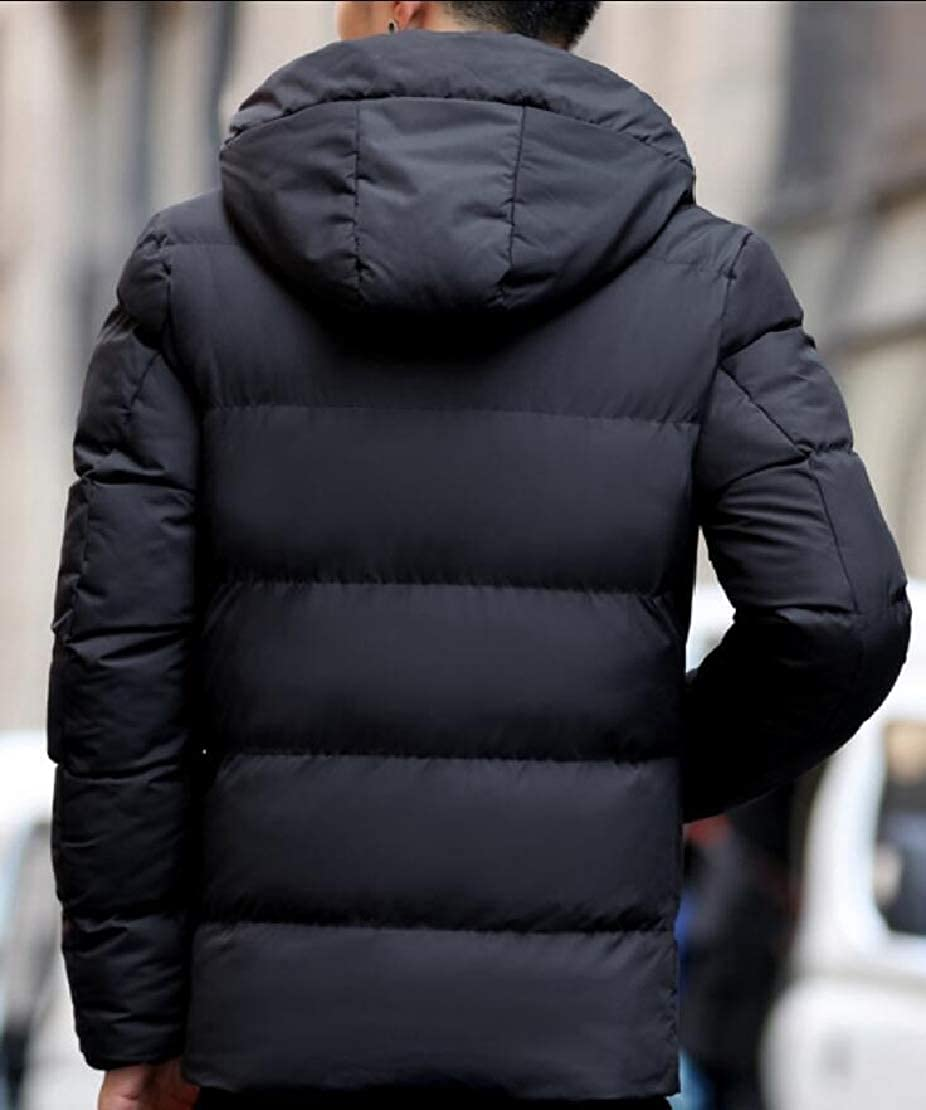 Alion Mens Trench Jacket Hooded Thickened Down Quilted Coat Outwear