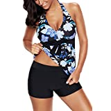 Uniarmoire Halter Top V-Neck Tankini Swimsuit with Boardshort for Women