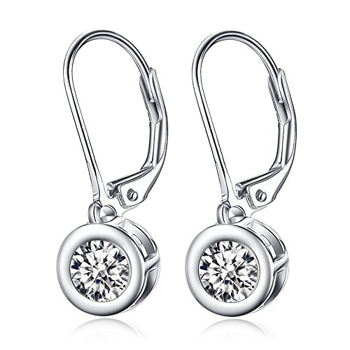 925 Sterling Silver Round Cut Clear Cubic Zirconia Lever Back Drop Earrings