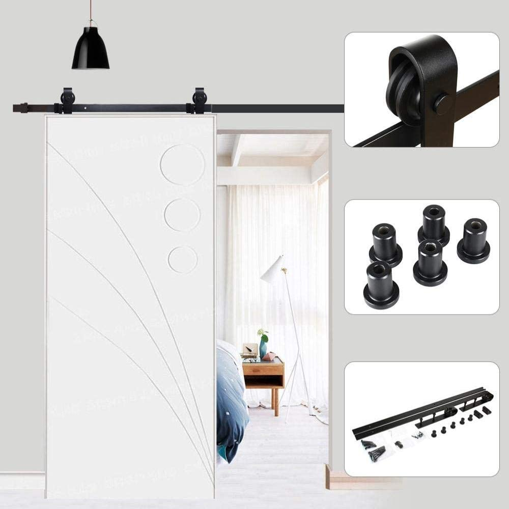 Riel para puerta corredera, 200 cm, puerta corredera de chapado, kit de accesorios para la puerta de la casa, carga máxima 120 kg, negro, para una puerta corredera de madera estilo rústico