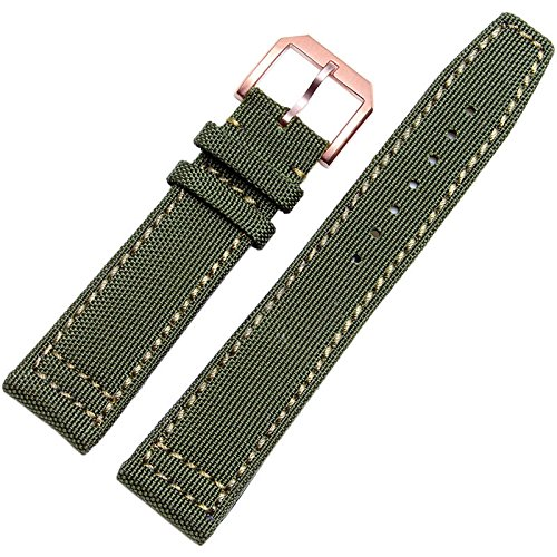 Wall of Dragon 20mm 21mm 22mm Canvas Nylon Genuine Leather Watch Band Black army green Watch accessories ()