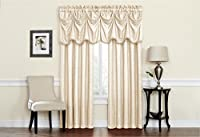 Regal Home Collections Bellini 50-Inch by 84-Inch Woven Jacquard Scroll Rod Pocket Window Panel, Beige