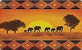 Toland Home Garden Savanna Sunset 18 x 30 Inch Decorative Elephant Floor Mat Exotic Animal Doormat