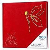 Creative home album album / cloth embroidery album / 6 inch (4R) 200 interstitial pocket album (23.5 22cm) ( Color : Red )
