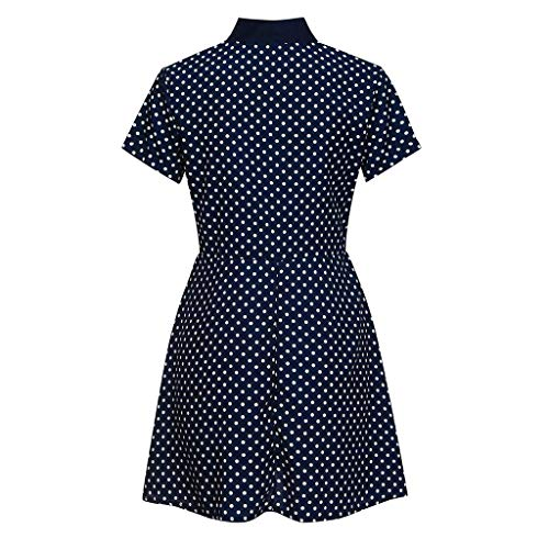 2019 New Womens Spot Printing Blouse, Casual V-Neck Short Sleeve Dot-Intarsia Printing Shirts Soild Summers Top Vest Blouse (Navy, M) by Aurorax Dress (Image #5)