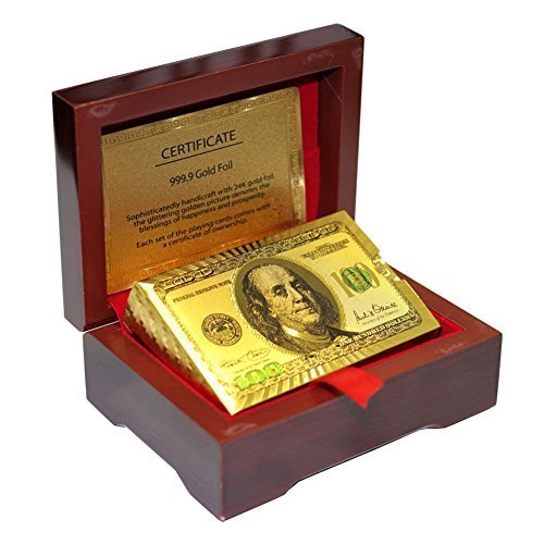 LLF 24K Gold Foil $100 Benjamin Franklin Playing Cards With Mahogany Wooden Box - Foil Carton
