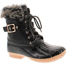 Nature Breeze Duck-01 Women's Chic Lace Up Buckled Duck Waterproof Snow Boots,Black,7.5