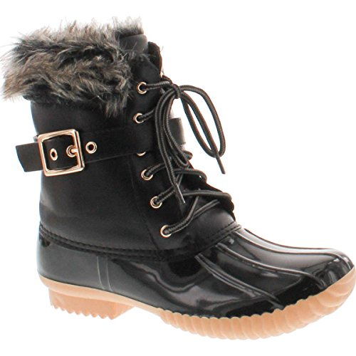 Nature Breeze Duck-01 Women's Chic Lace Up Buckled Duck Waterproof Snow Boots,Black,8