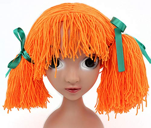 Qhome Girls Crocheted Cabbage Patch Clown Pigtail Costumes Hat Halloween Wig Funny Hat Carnival Winter Hat for Kids for $<!--$14.99-->