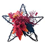 Fine Artificial Pumpkin Maple Leaf Wreath,Hanging Ornament Wooden Thanksgiving Black Pumpkin Star Shape Wall Ornament Halloween Home Indoor or Outdoor Decoration (D)