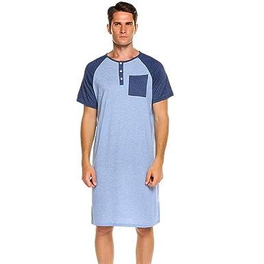 752e3d61fd Uojack Herren Comfort Henley Kurzarm Nachthemd Patchwork Schlafhemd  Nachtwäsche Schlafanzüge: Amazon.de: Bekleidung