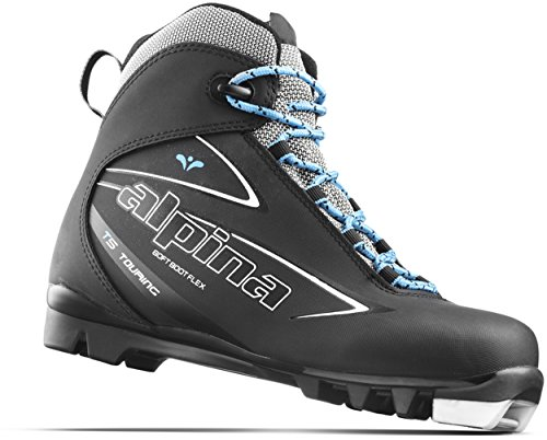 Alpina Sports Women's T5 Eve Touring Cross Country Nordic Ski Boots, Euro 38, Black/White/Blue
