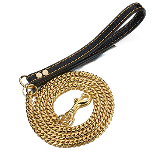 Aiyidi Pet Dog Strong Leash Long 2FT 3FT 4FT 18K Gold Metal 12mm Curb Cuban Chain Dog Leashes with Comfortable Genuine Leather Handle (Gold,24inch)
