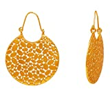 Touchstone ''Tribal Bohemian Chic Beautiful Cutout Designer Dangle Jewelry Earrings in Antique Gold Tone for Women