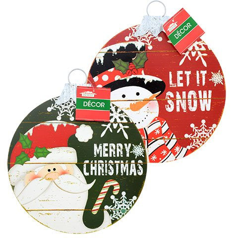 Christmas Ornament Shaped Wall Signs Bundle With Santa and Snowman
