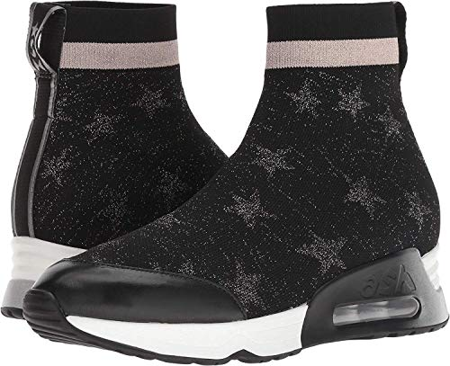 Ash Women's Lulla Star Black Knit/Old Silver/Black Nappa Calf 39 M EU