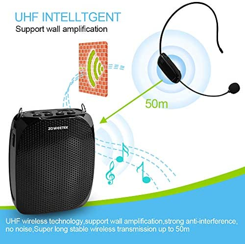 ZOWEETEK Voice Amplifier with UHF Wireless Microphone Headset, 10W 1800mAh Portable Rechargeable PA system Speaker for Multiple Locations such as Classroom, Meetings, Promotions and Outdoors 51Zlq95o2KL
