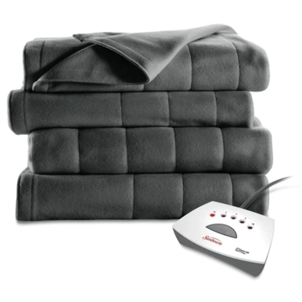 Sunbeam Electric Heated Fleece Blanket - Queen - Slate Grey