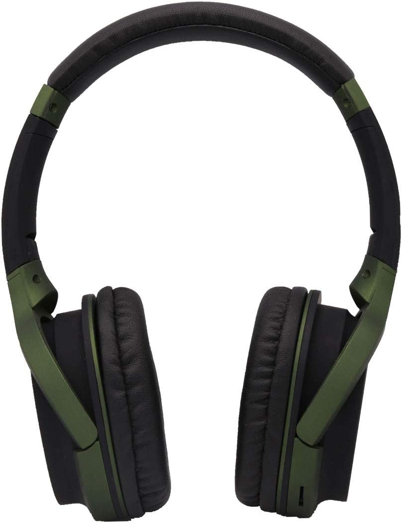 Headphones Over Ear, PIN L Wired Stereo Headphones, Retractable Lightweight Foldable Sports Headphones with Mic – Blackish Green