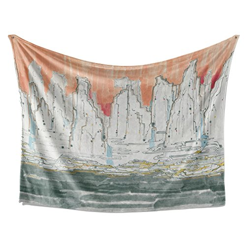 SimbaDeco Tapestry Watercolor Abstract Wall Hanging Orange and Black Geometry Mountain Hills Painting Cool Tapestries Large Wall Art for Studio Room 84x59 Inch Orange