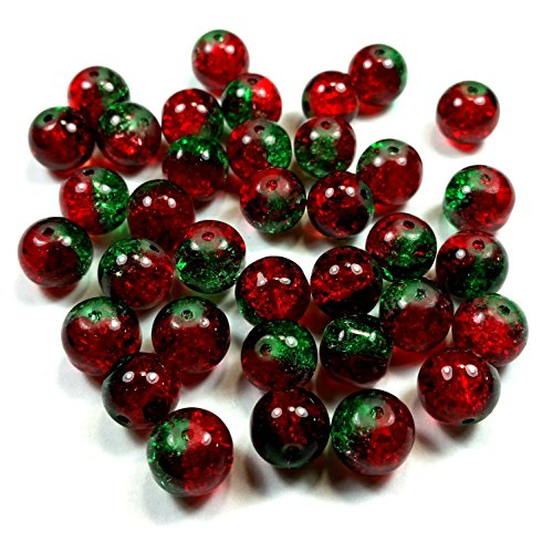 Moxx 2-tone 10mm Round Crackle Lampwork Glass Beads Red/green